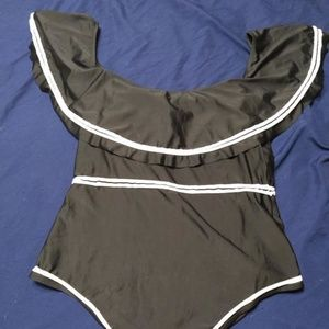 Shein Black Ruffle Top Swimsuit 3X